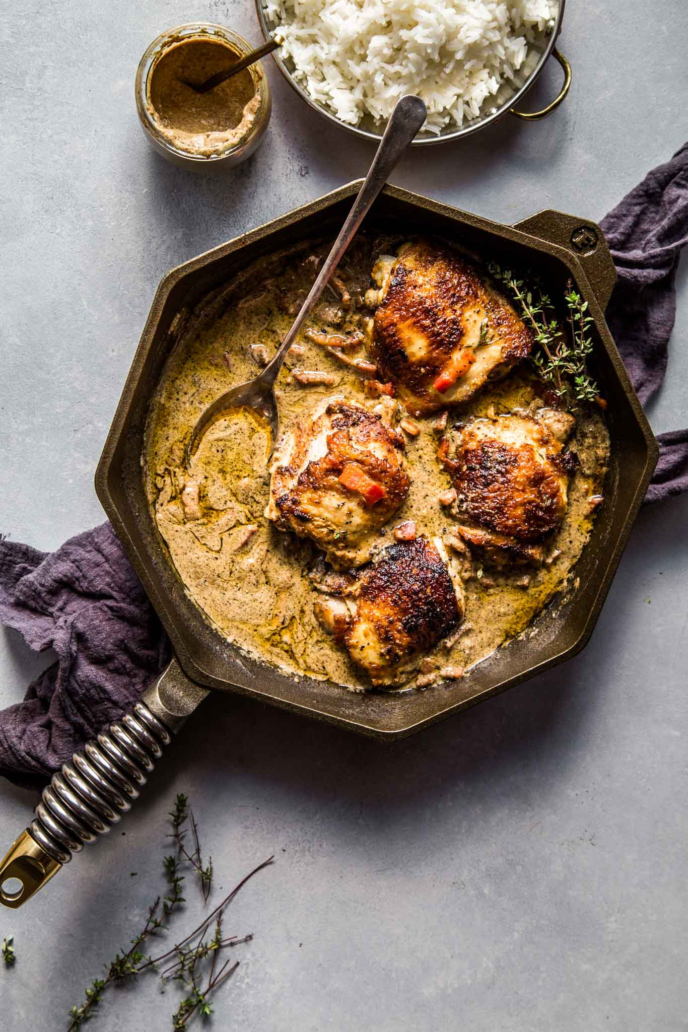 One-skillet chicken with mustard wine sauce ready to be served.