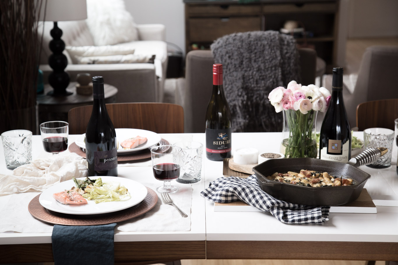 Dinner table set up for Oregon Wine Month dinner