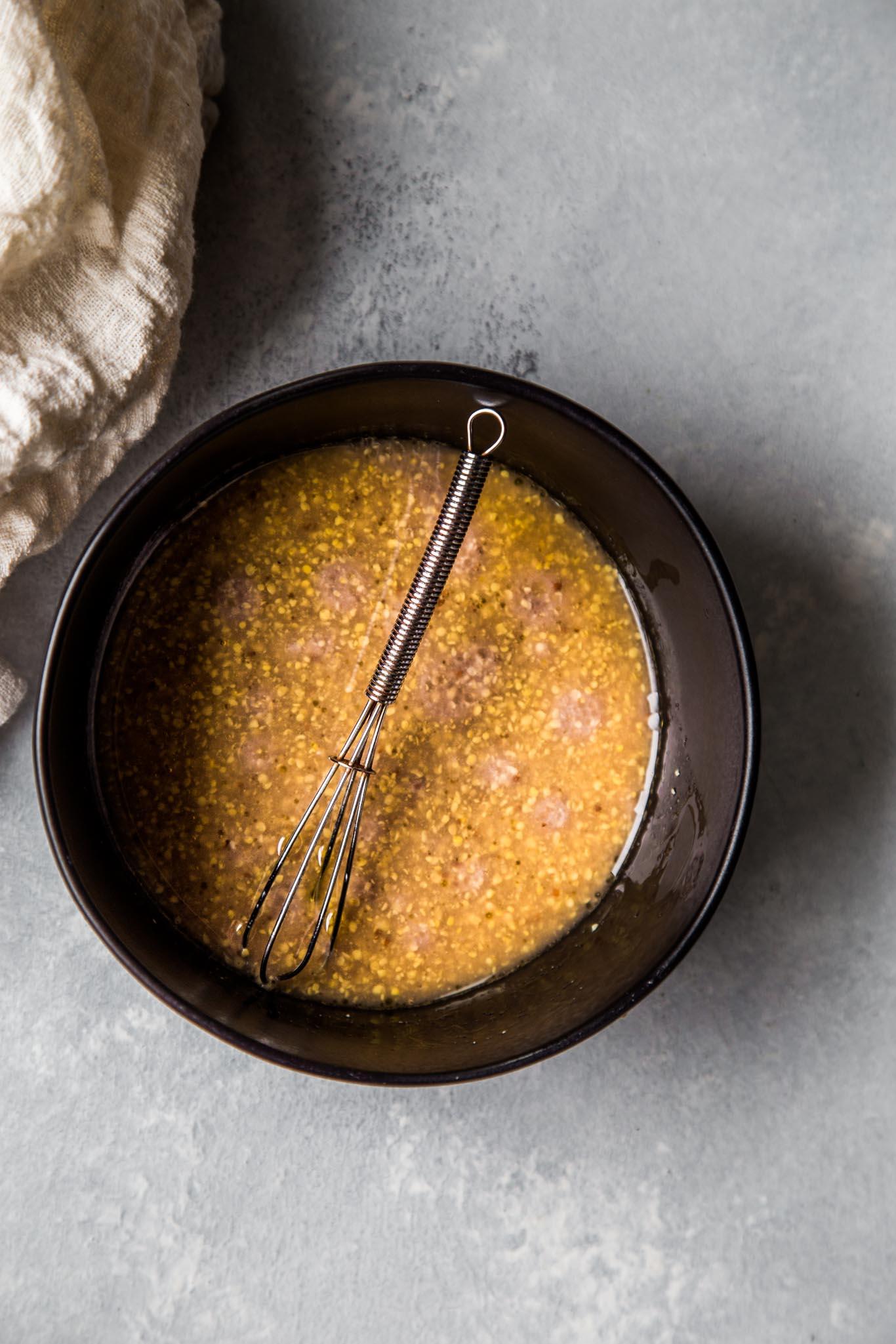 Mustard vinaigrette in a bowl