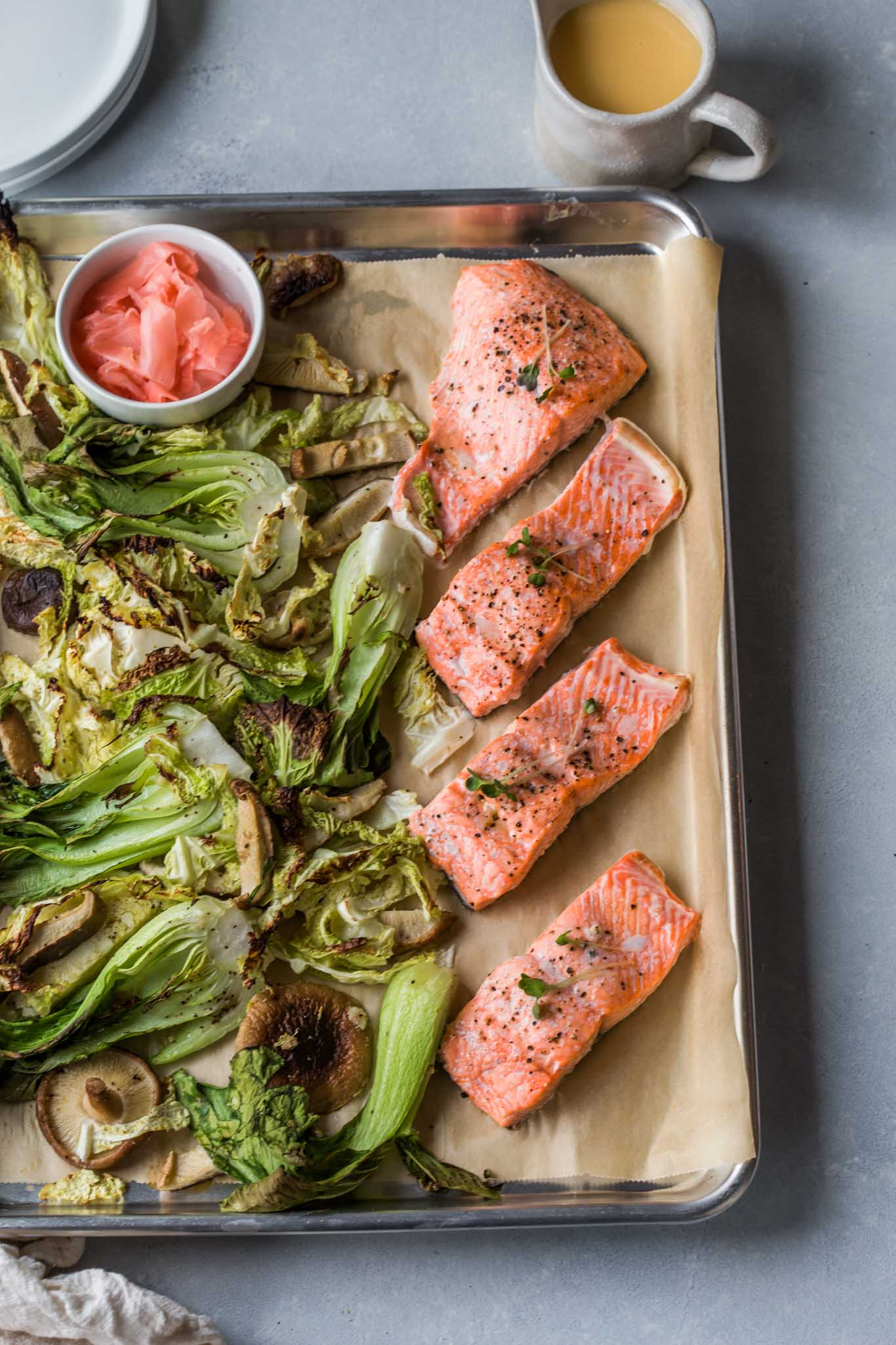 Sheet Pan Salmon with Pickled Ginger Butter