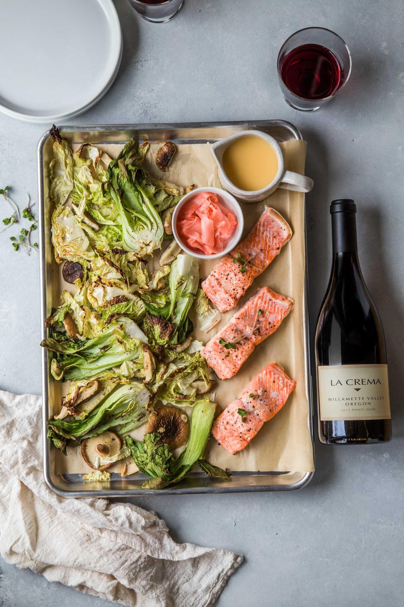 Sheet pan salmon paired with Oregon Pinot Noir