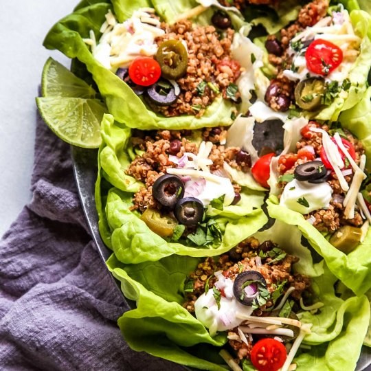 Taco Quinoa & Turkey Lettuce Wraps make a hearty, healthy, protein packed meal that's amazingly delicious and quick and easy to prepare. They're perfect for meal prep too.