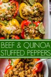 Southwest Beef & Quinoa Stuffed Peppers make a hearty, healthy, protein packed meal that's amazingly delicious and quick and easy to prepare.
