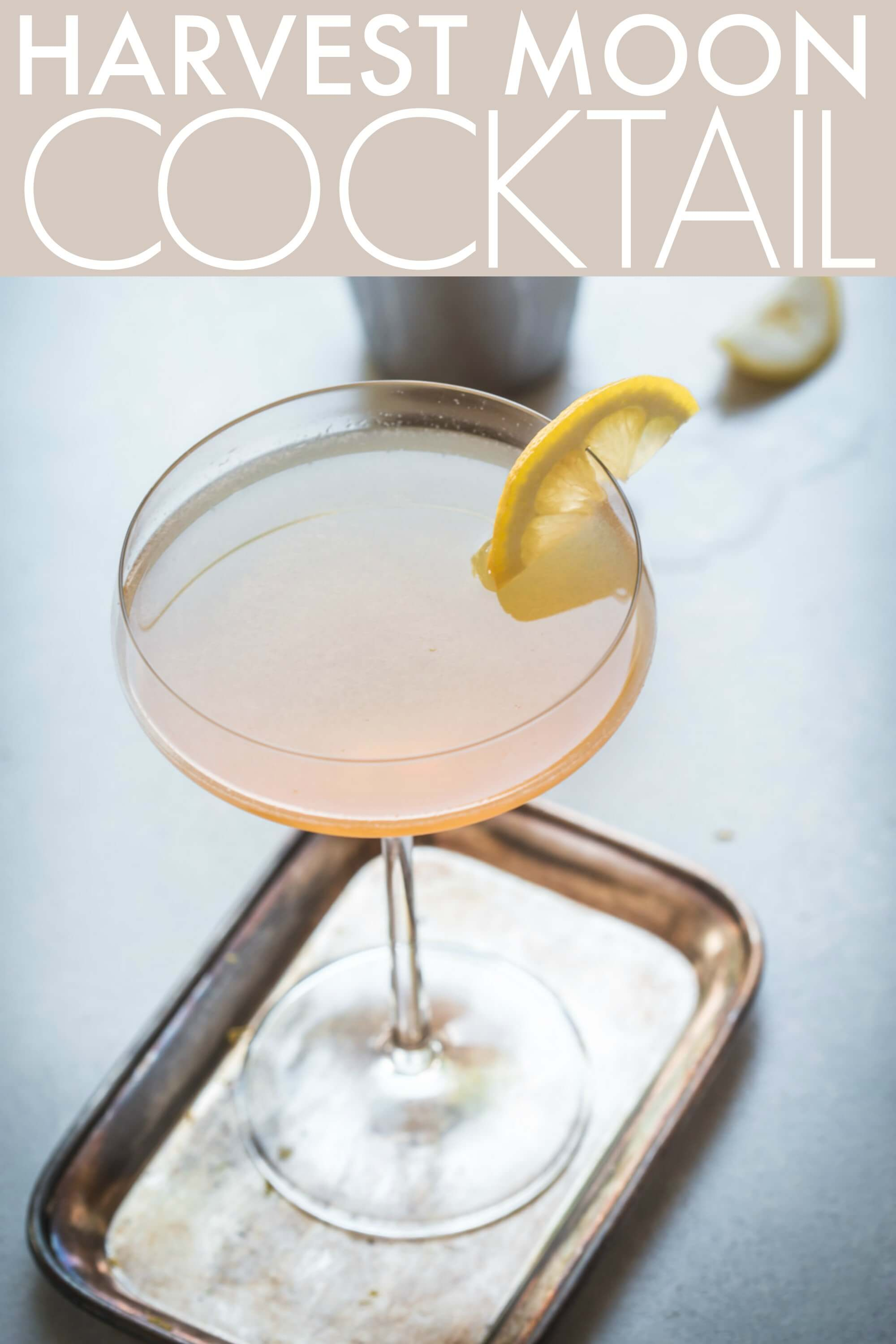 This Harvest Moon Applejack Cocktail is made with apple brandy, almond syrup (orgeat) and lemon juice. It's a delicious cocktail recipe that's served straight up in a martini glass. #harvestmooncocktail #cocktail #applejackcocktail #applejack