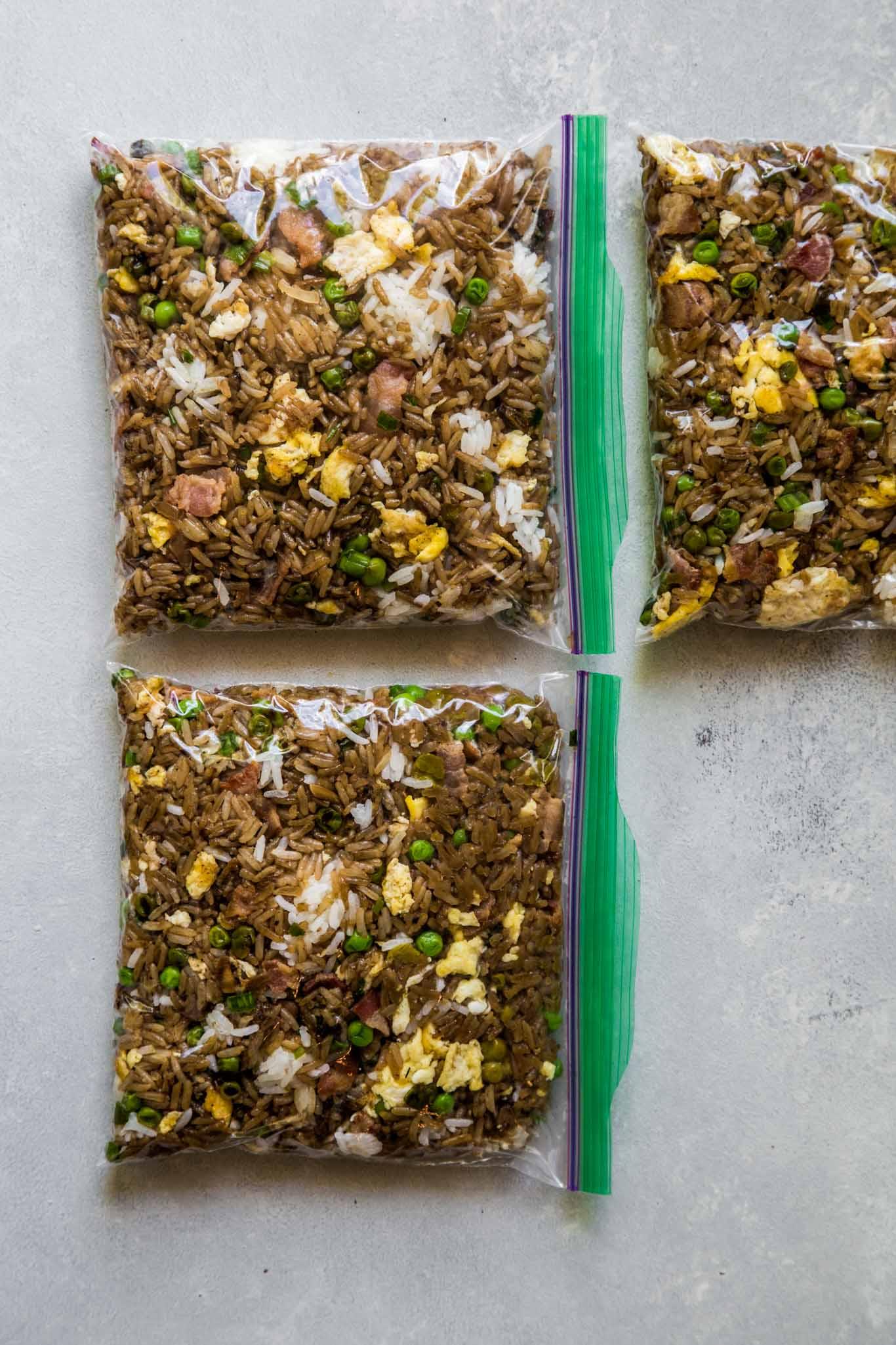 Fried rice in ziploc bags.