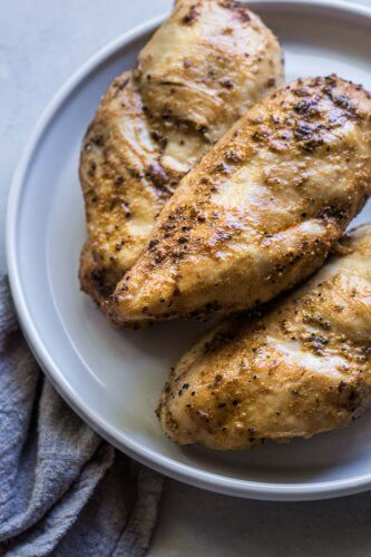 Side view of cooked instant pot chicken breasts.