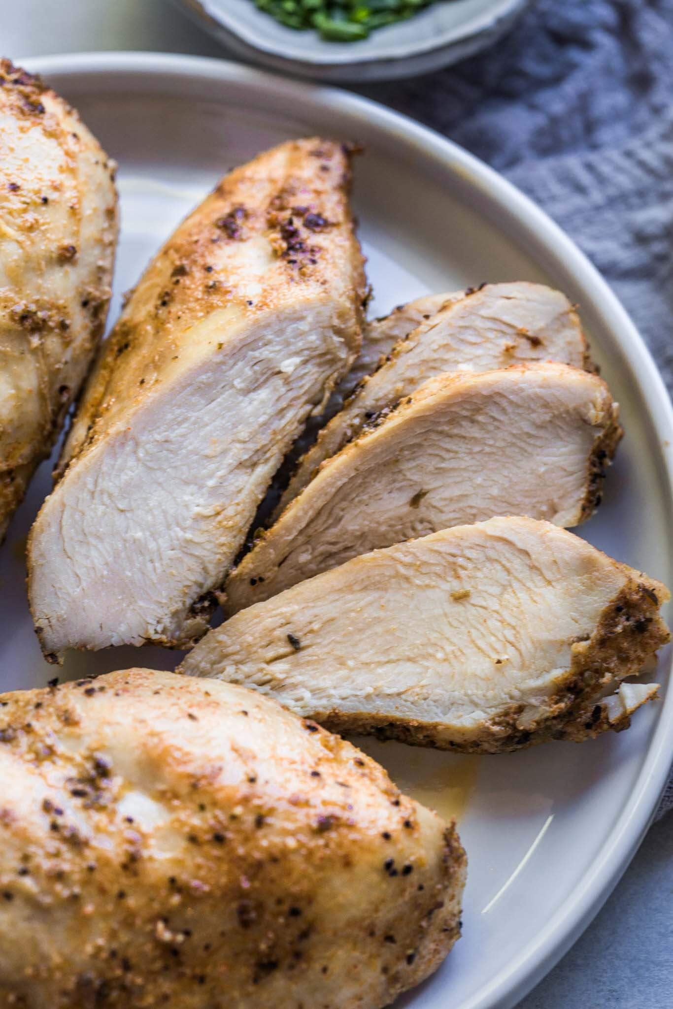 Carved up instant pot chicken breasts.