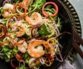 Thai shrimp salad served in a black dish