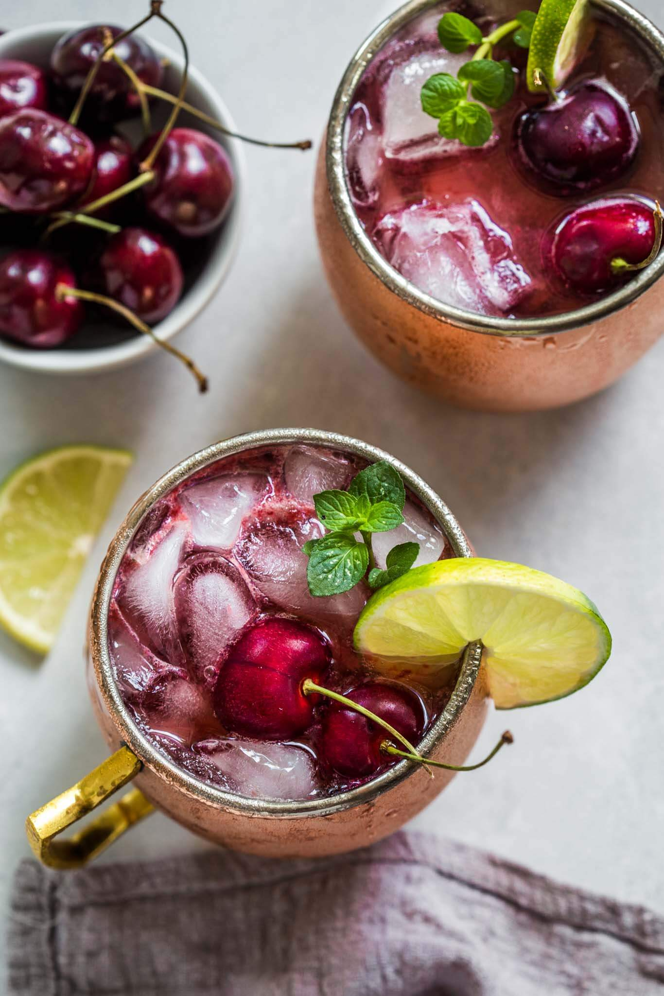 Overhead shot of cherry moscow mule.