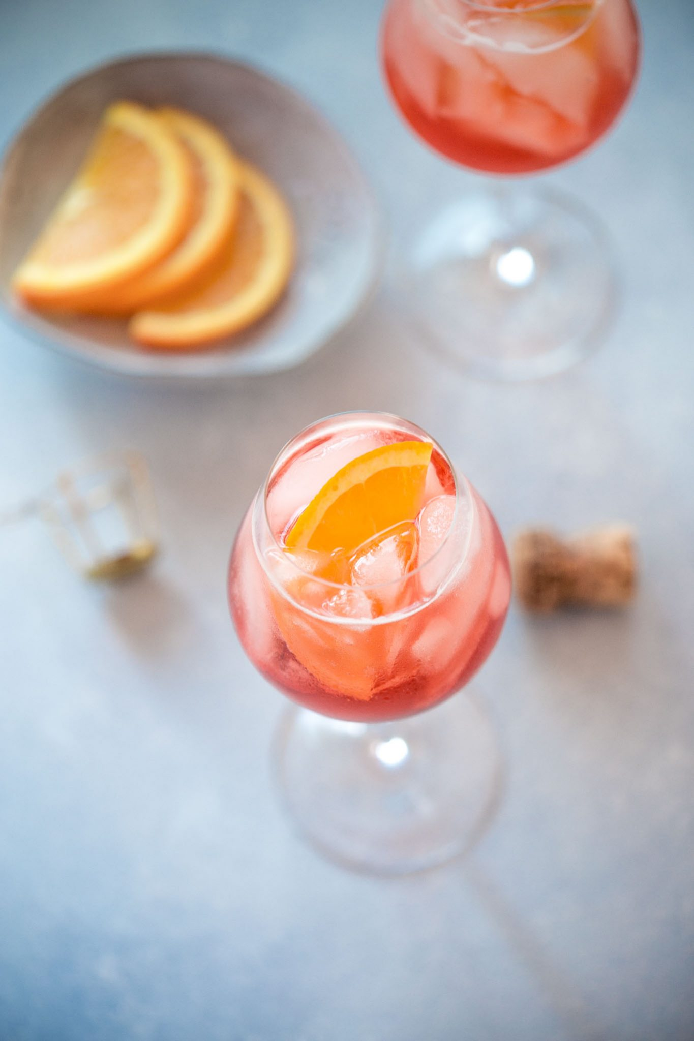 Overhead shot of aperol spritz cocktail.
