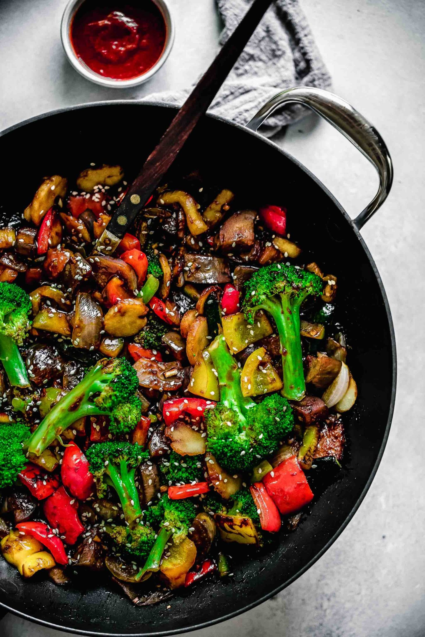 Asian vegetarian stir fry barbaque sauce