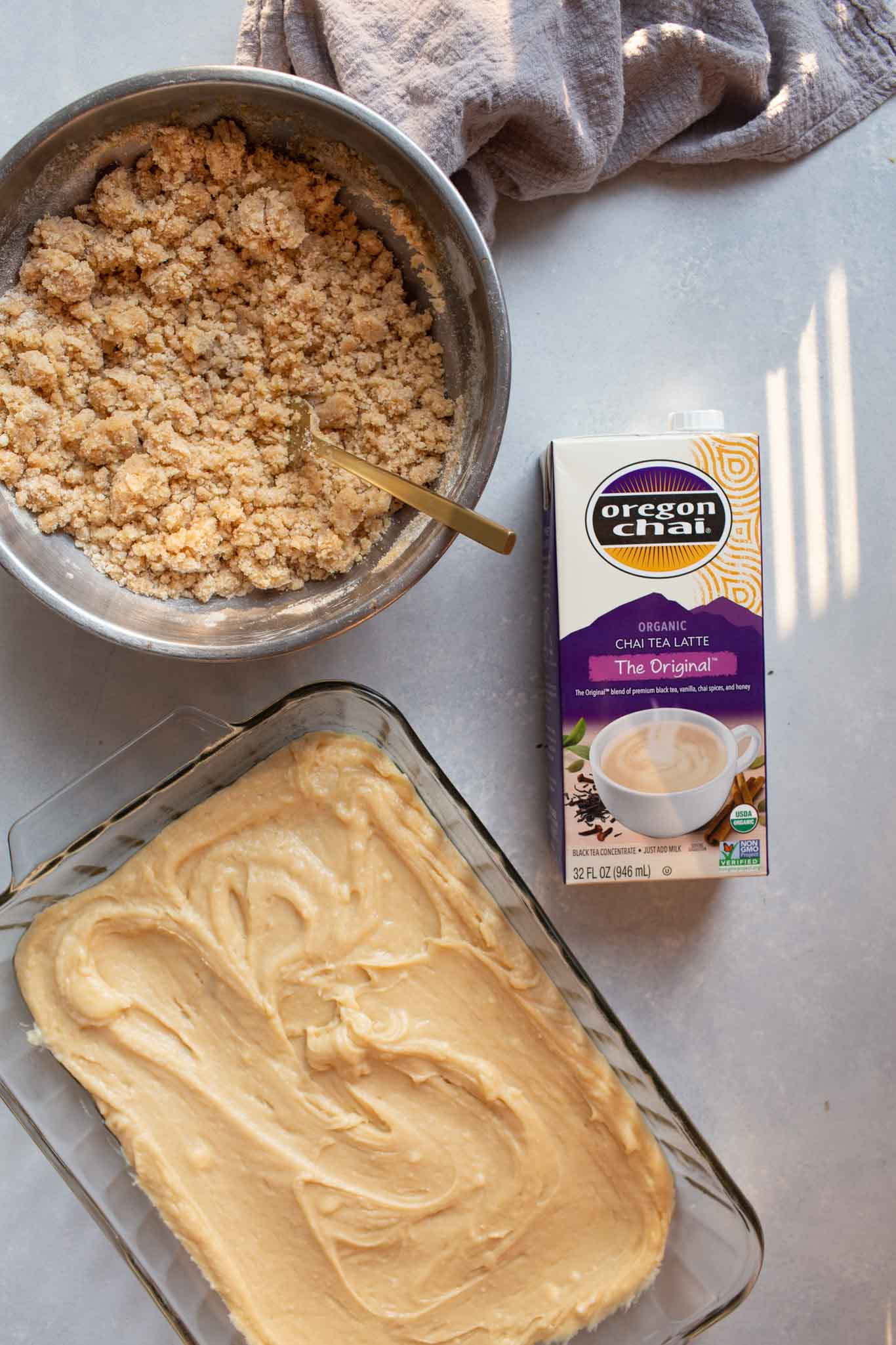 Ingredients for chai spiced crumb cake