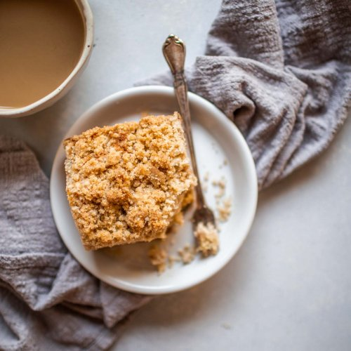 Overhead shot of chai spiced crumb cake