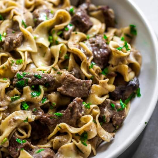 Side view of Instant Pot Beef Stroganoff.