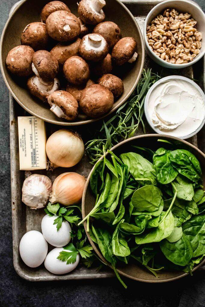Ingredients for mushroom walnut pate on tray.