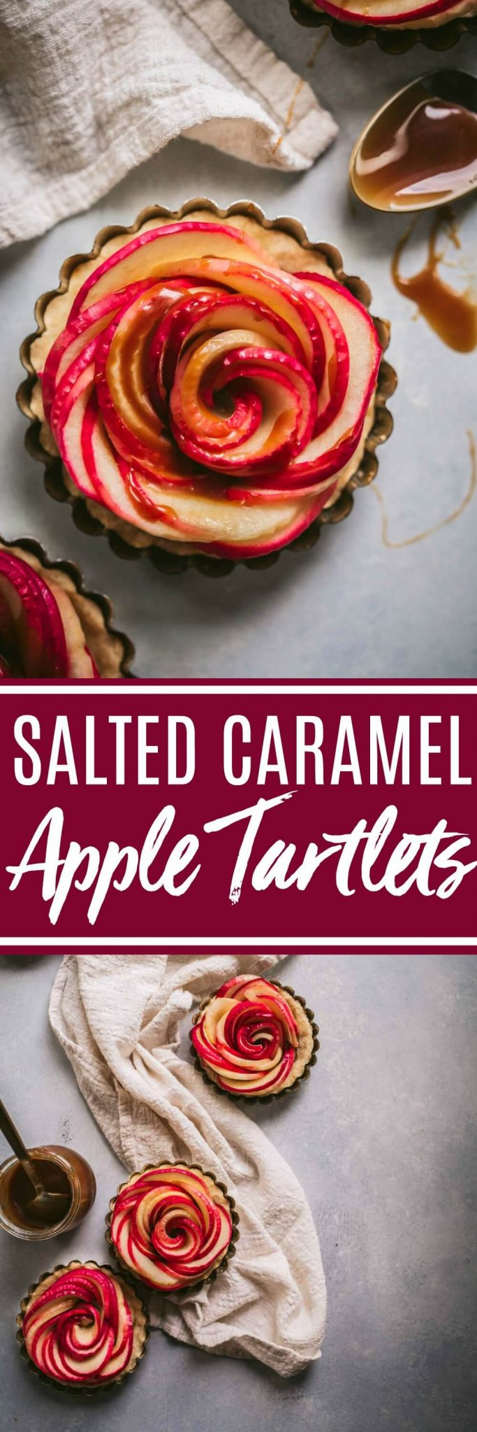 Rose Apple Tartlets with Salted Caramel are not only amazingly delicious, but beautiful too! Thin apple slices are arranged to look like a rose and drizzled with a yummy, spiked salted caramel sauce.