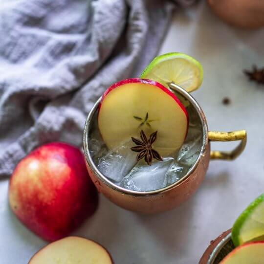 Overhead shot of apple cider moscow mule.
