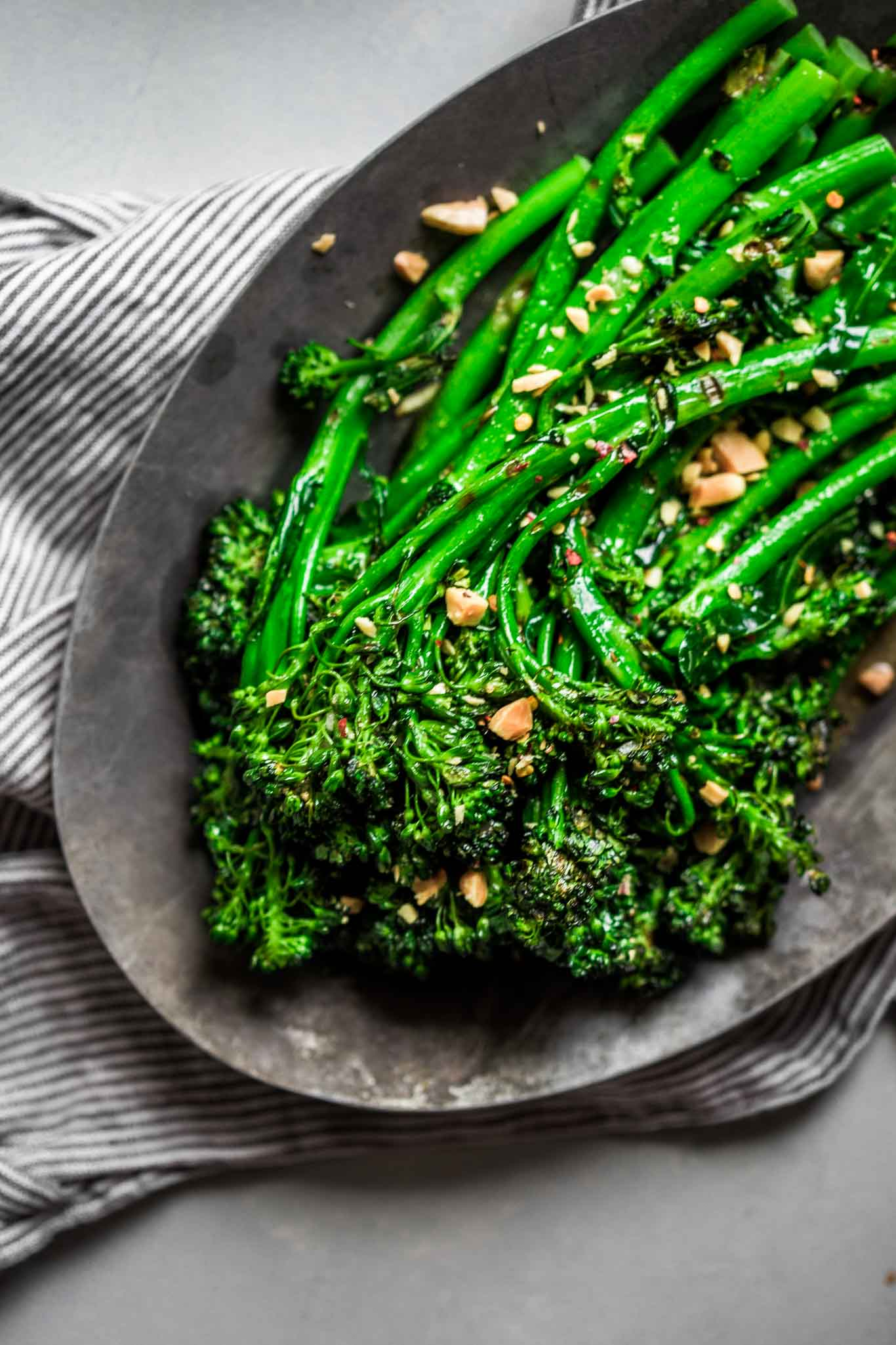 Platter of grilled broccolini