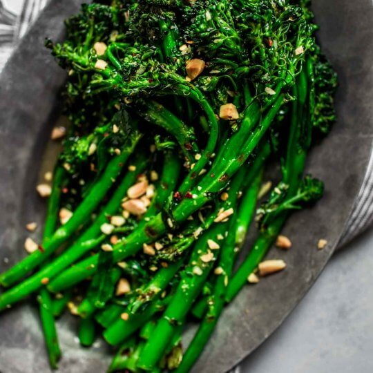 Platter of grilled broccolini.