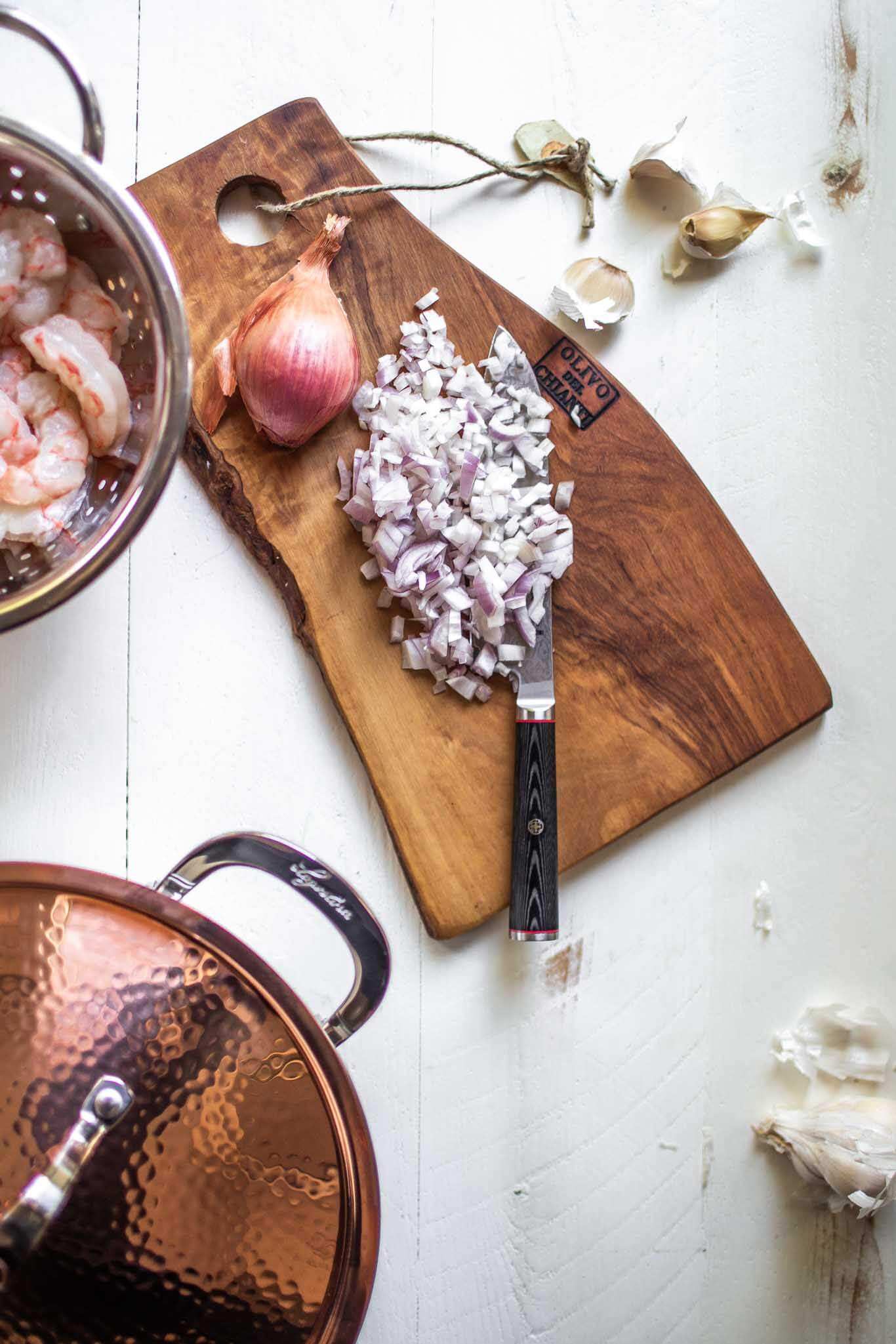 Ingredients for shrimp risotto.