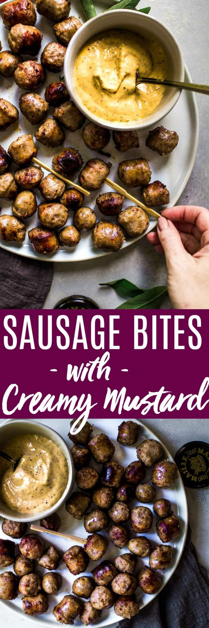 These Sausage Bites are simmered in white wine and served with a creamy, spicy mustard dipping sauce. They're a delicious appetizer that take minimal prep work and cook up quickly. #appetizer #partyappetizer #fingerfood #sausagebites