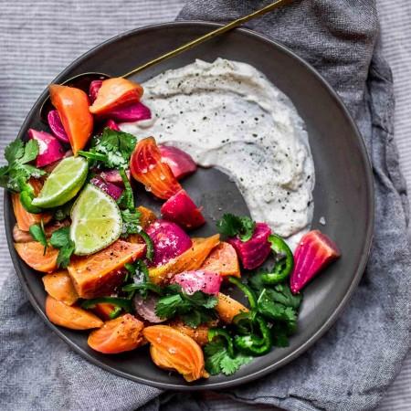 Overhead shot of instant pot beet salad on grey plate.
