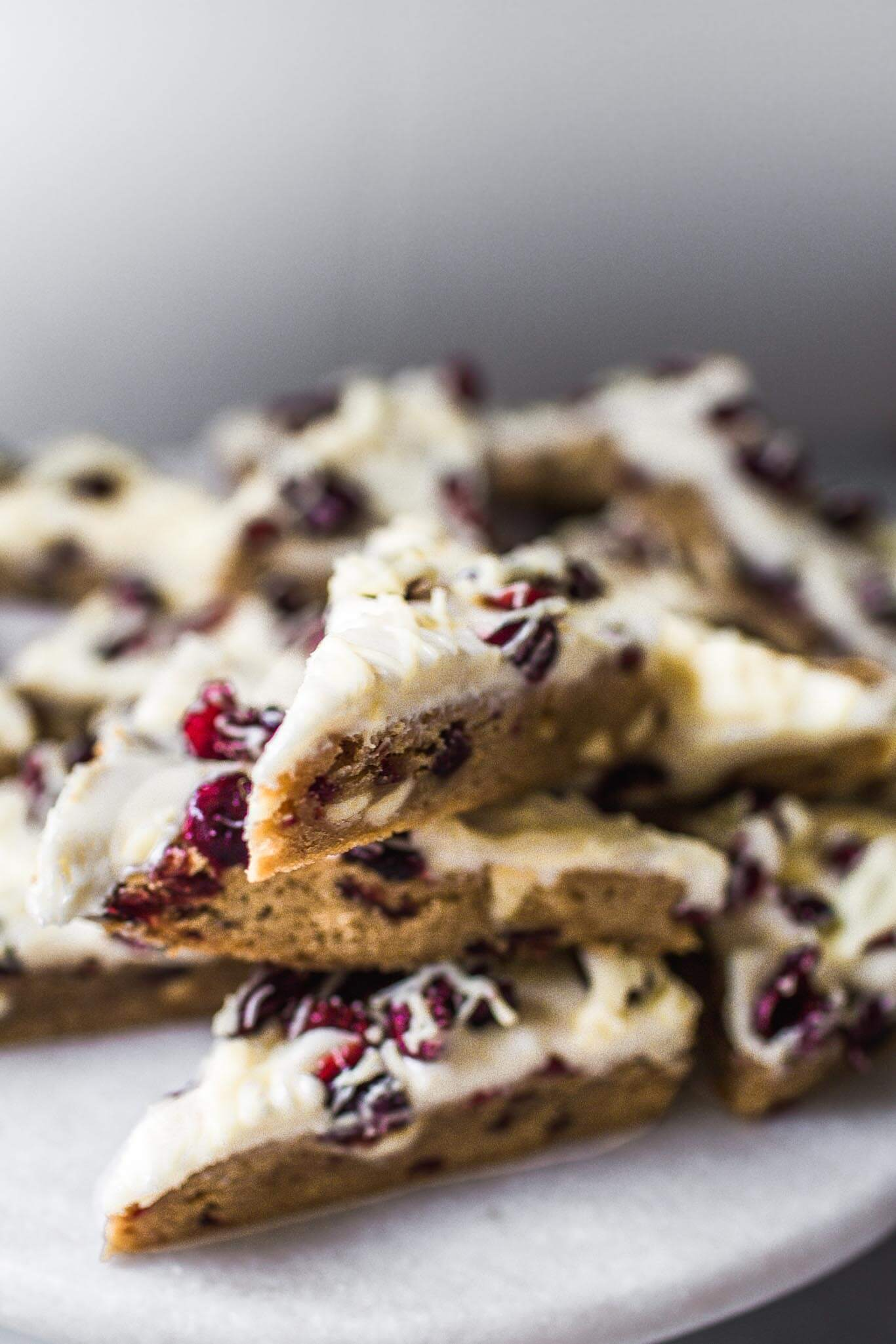 Side view of cranberry bliss bars.