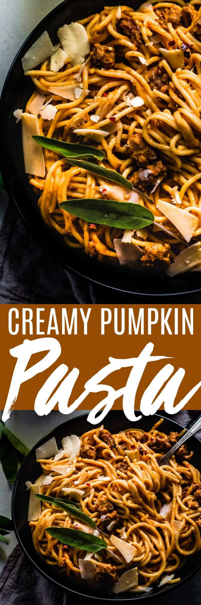 Creamy Pumpkin Pasta is so delicious and perfect for fall! Spaghetti is tossed with a creamy pumpkin sauce that's been flavored with sausage & sage for a delicious dinner that's ready in under 30-minutes. #pumpkinpasta #pasta #30minutemeal #easydinner