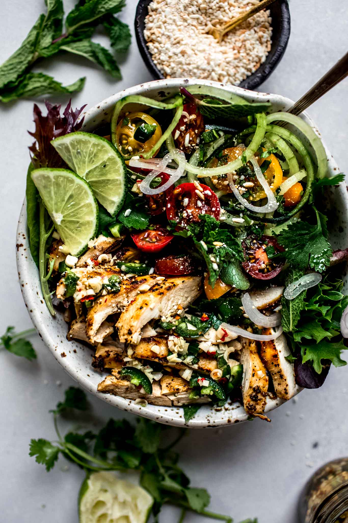 Overhead shot of thai chicken salad.