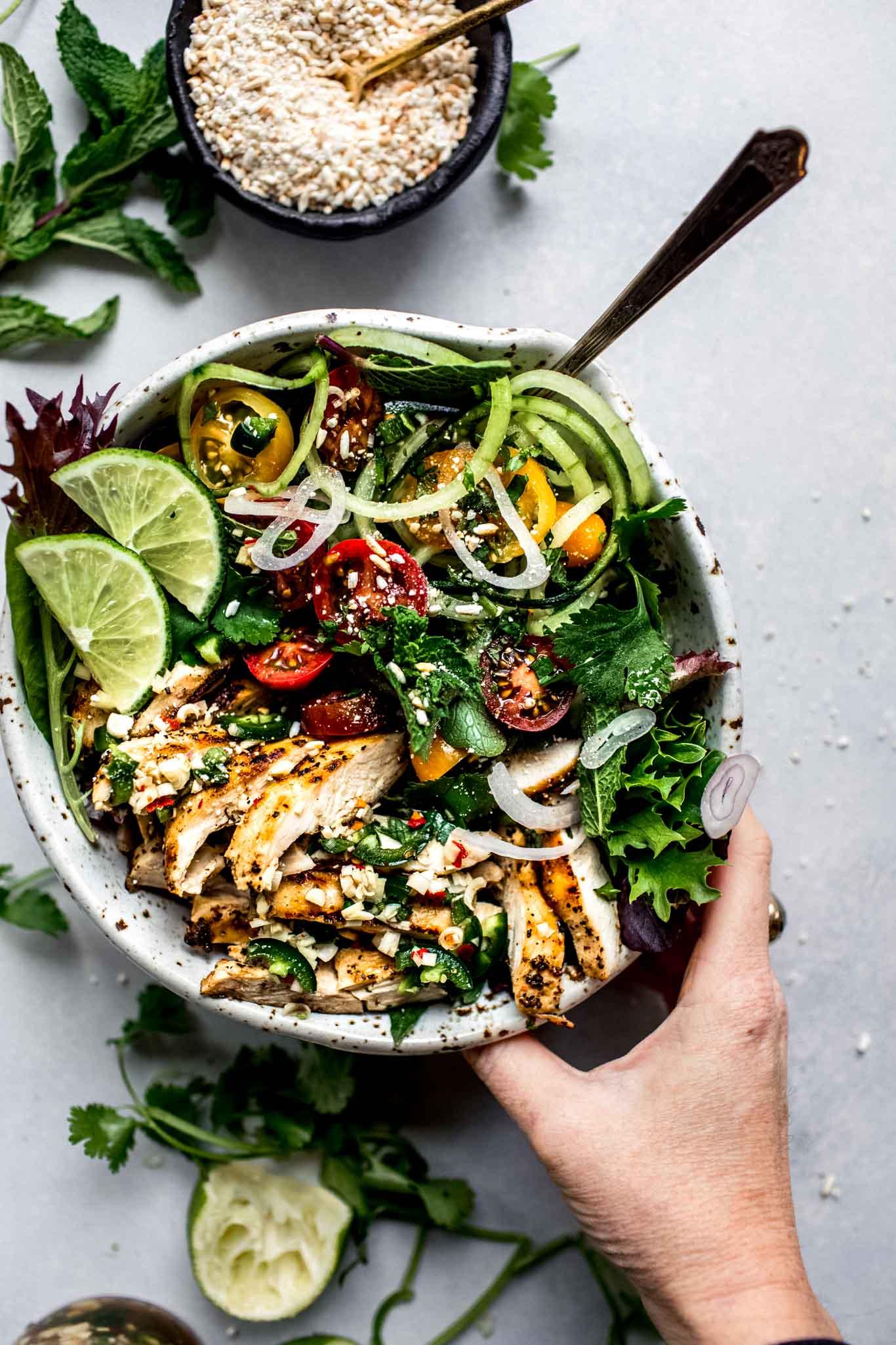 Hand holding bowl of thai chicken salad.