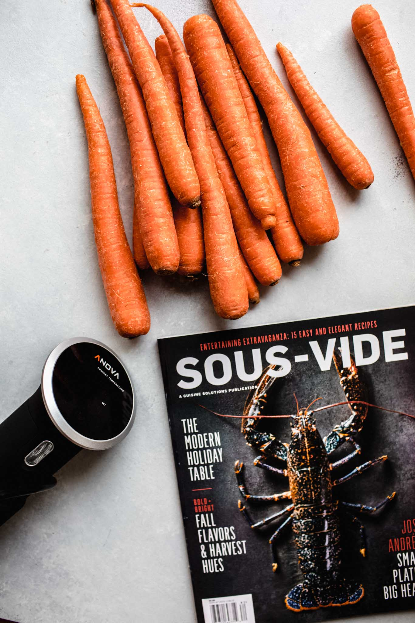 Carrots next to sous vide and magazine.