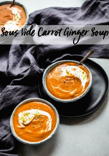 Carrot Ginger Soup prepared sous vide is finished with a dollop of whipped lime crema in this delicious and visually striking soup recipe.