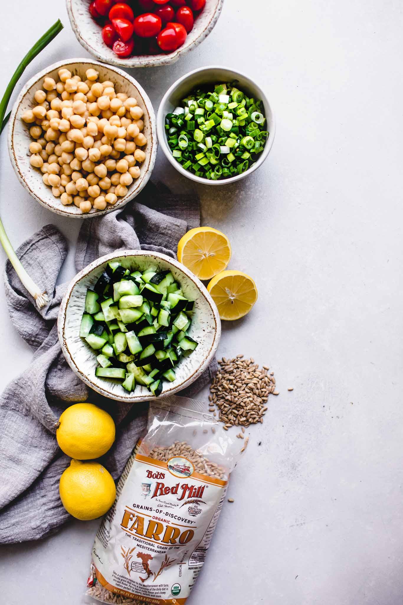 Ingredients for farro salad.