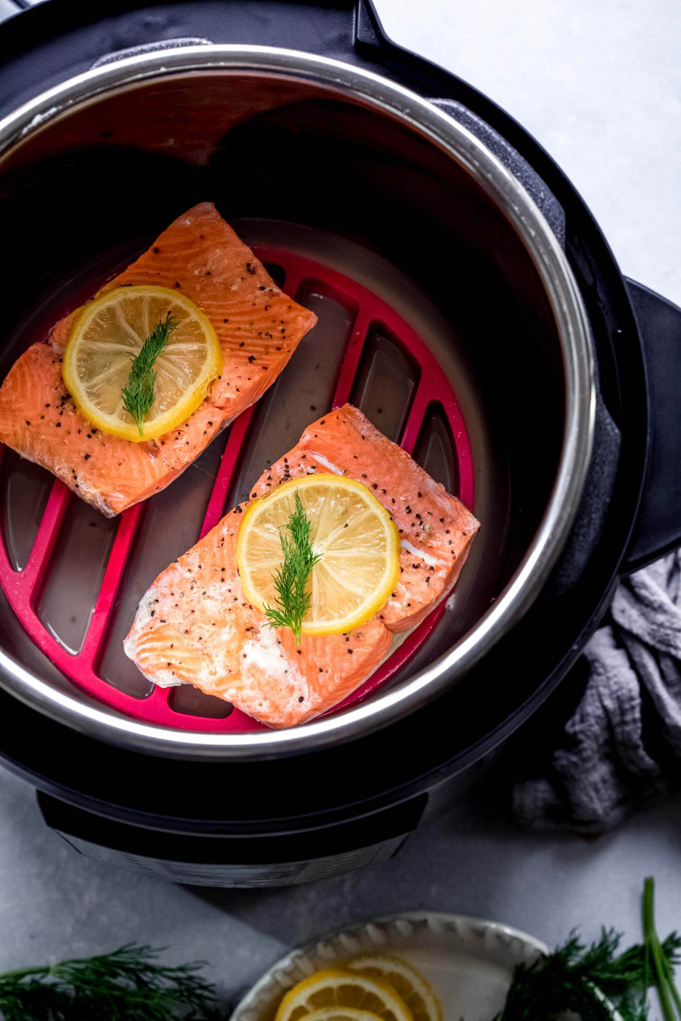 Salmon in instant pot after cooking.