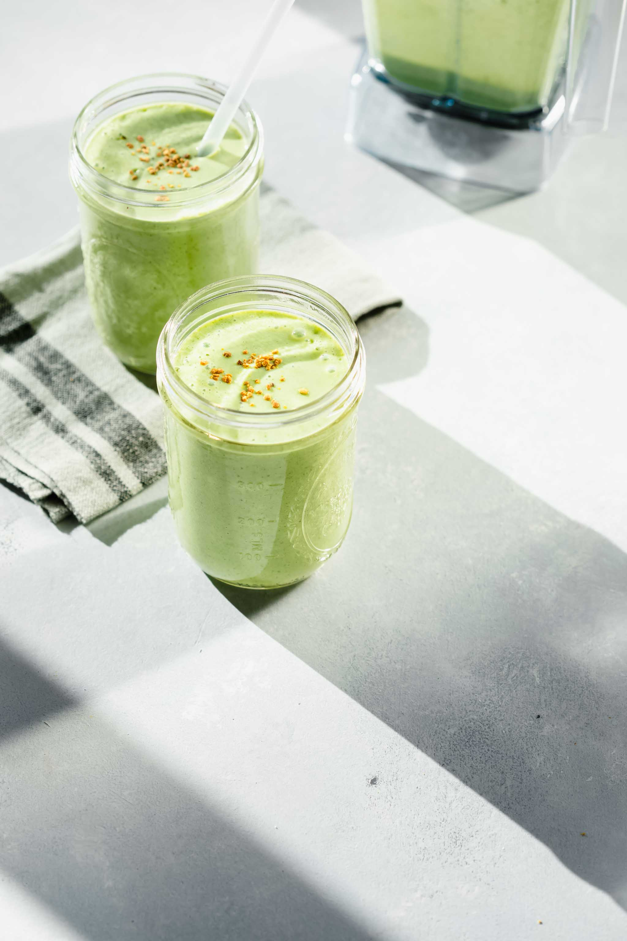 Side view of two simple Green Smoothies