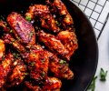 Overhead close up of vietnamese chicken wings.