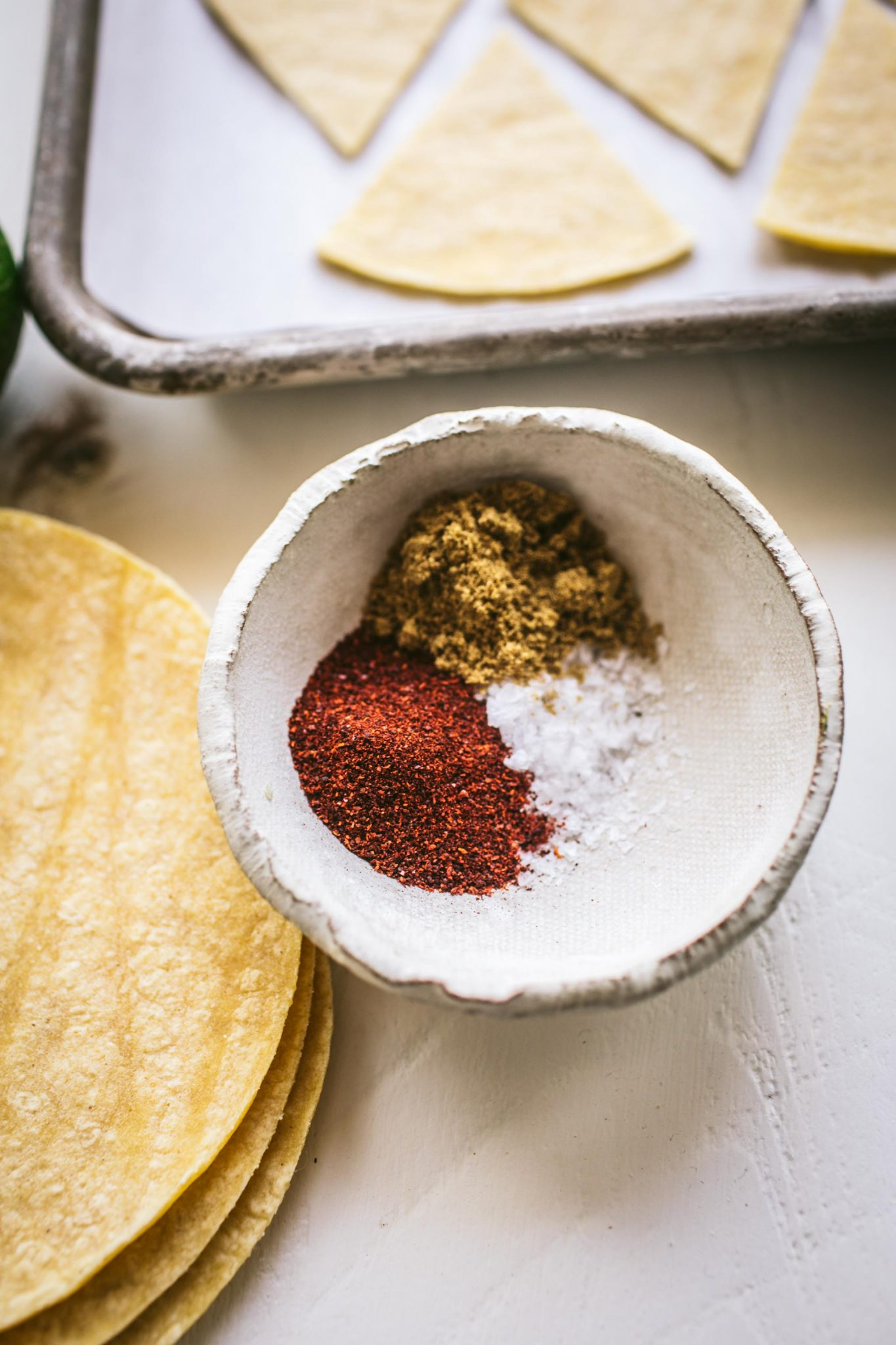 Spice blend for baked tortilla chips.