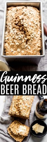 Guinness Bread is easy to make and perfect for St. Patrick's Day (or when you have leftover Guinness). The Irish stout helps the bread rise without yeast so there's no waiting before baking. It also lends a nutty flavor to this lightly sweet bread.