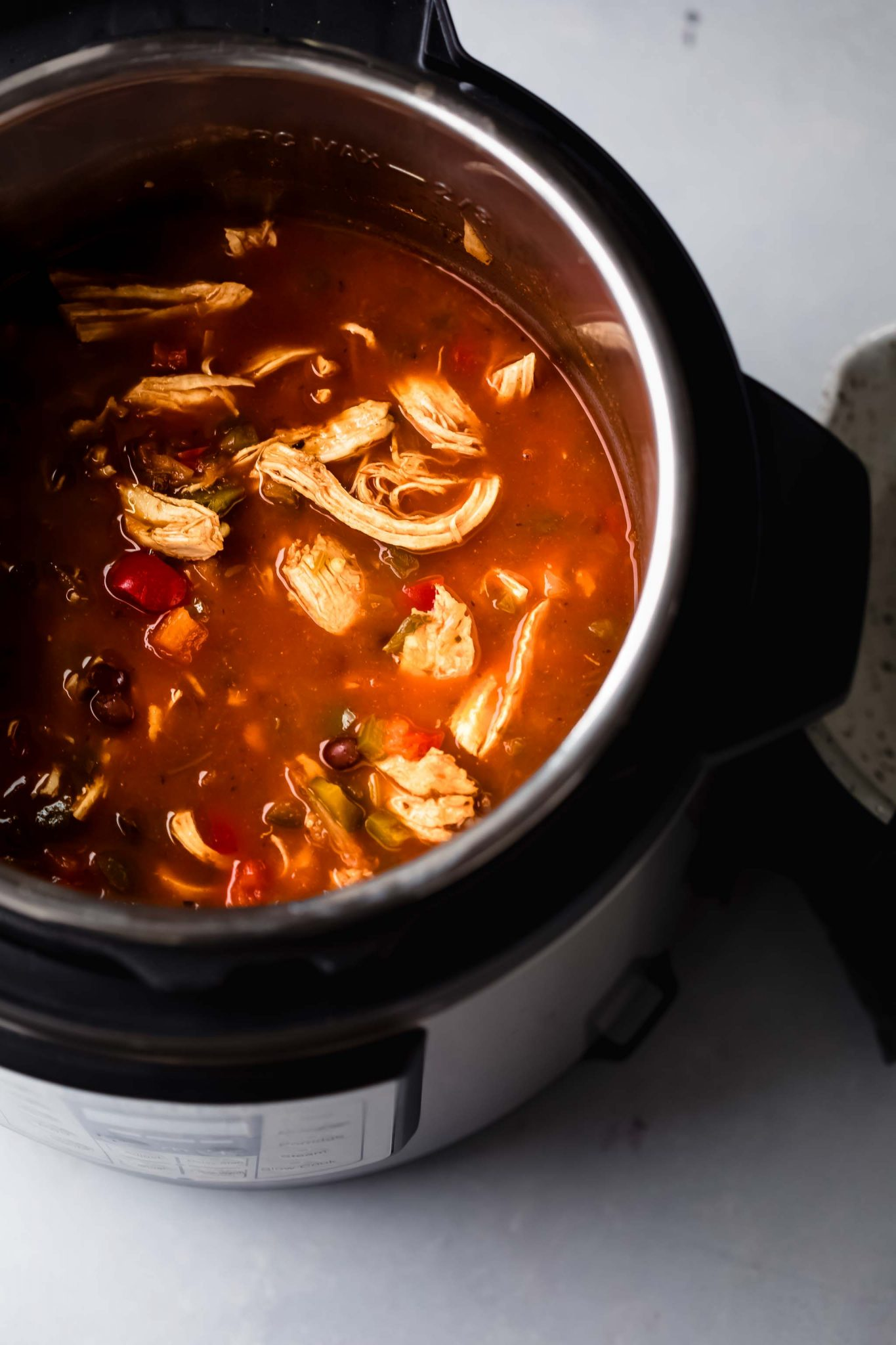 Chicken tortilla soup after cooking in instant pot.
