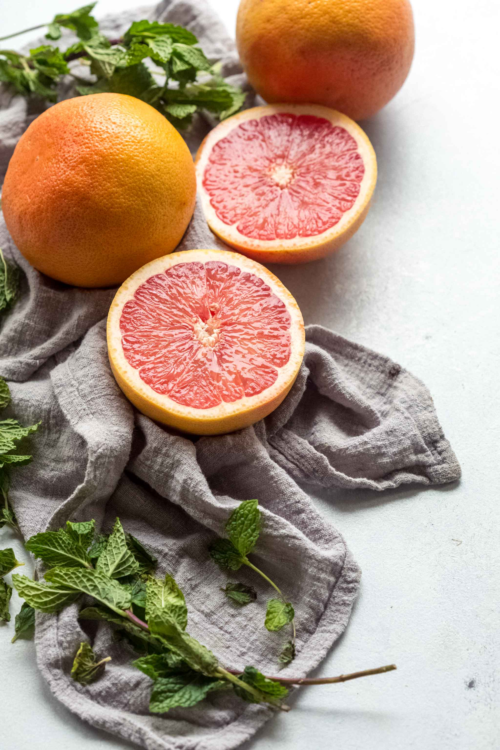 Grapefruits and mint. Ingredients for Grapefruit Mint Juice.