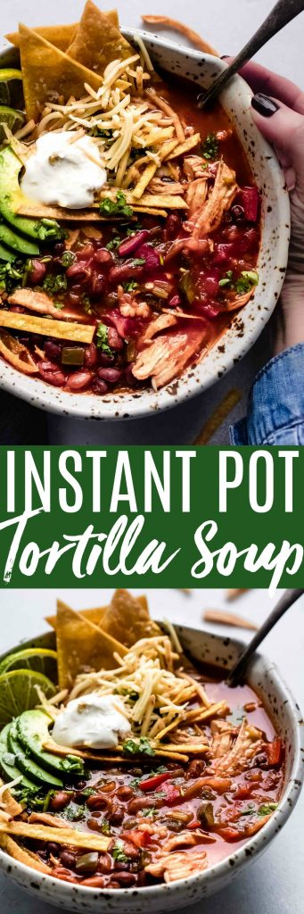This is the BEST Instant Pot Chicken Tortilla Soup! It tastes like it's been cooking all day, but it only takes minutes in your electric pressure cooker.