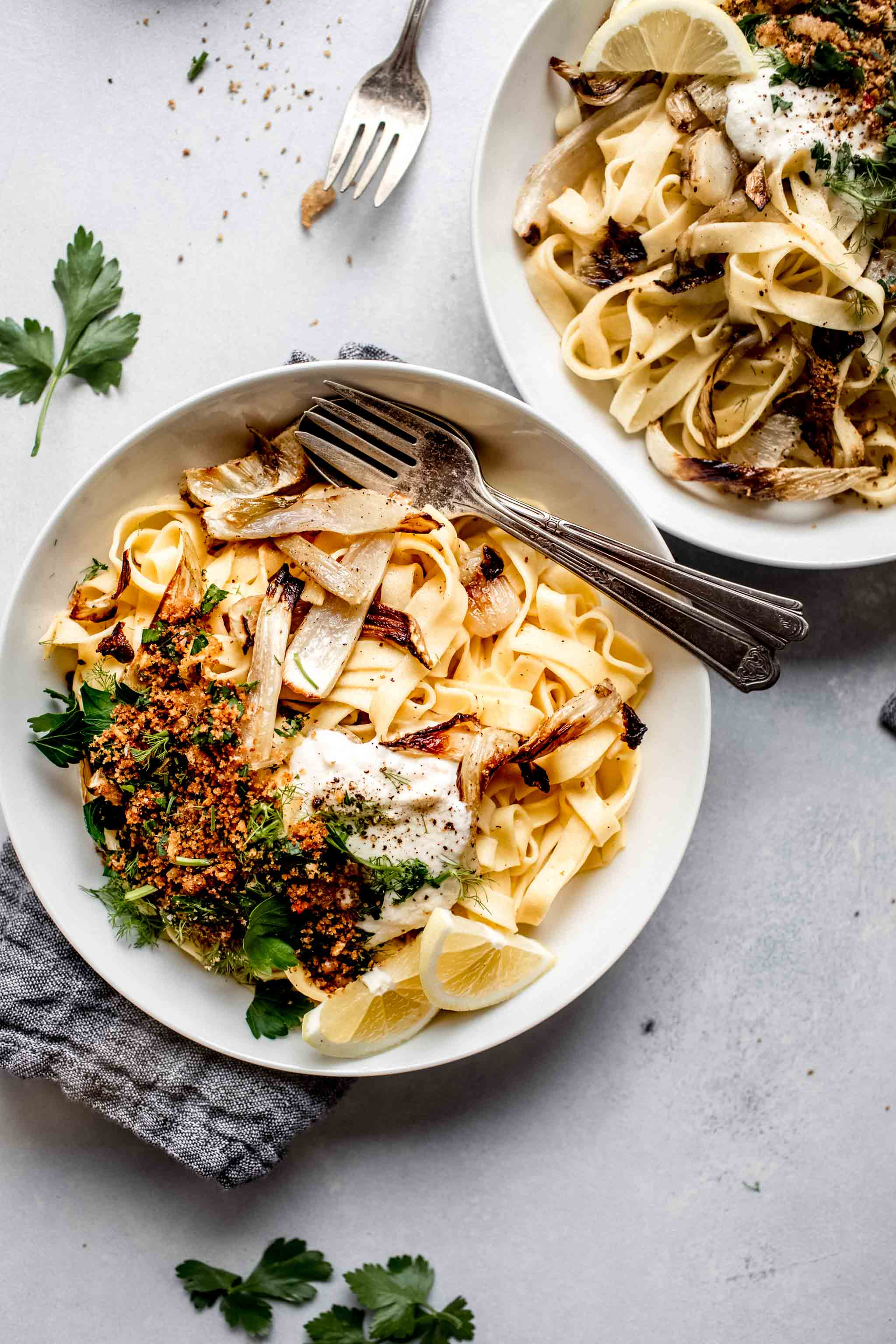 Two bowls of fennel pasta.