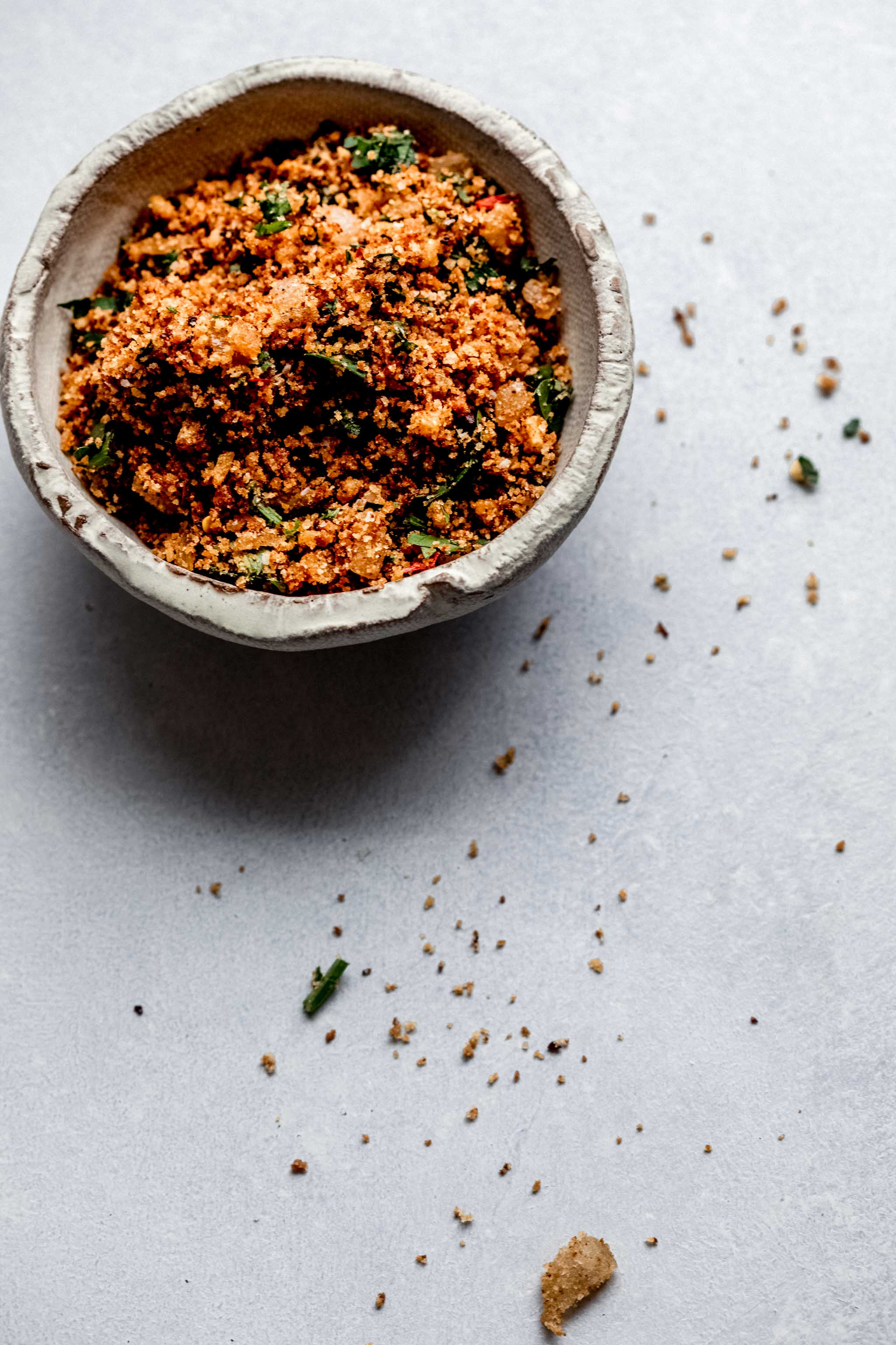 Bowl of toasted breadcrumbs.