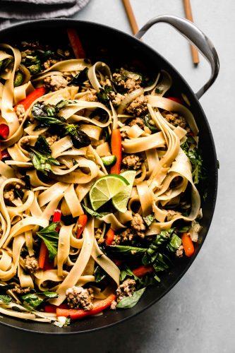 Pad kee mao in wok.
