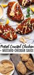 Crispy Pretzel Crusted Chicken with Cheddar-Mustard Sauce is an easy delicious dinner that will be on your table in 30 minutes! // pretzel chicken with cheese sauce // pretzel chicken recipes // chicken recipe