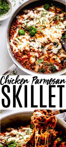 This Healthy Chicken Parmesan Skillet with Farro is an easy to prepare, hearty & healthy dinner that will be on your table in a hurry. // farro skillet // chicken parmesan // healthy dinner // chicken dinner // chicken recipe #chickenrecipe #chickenparmesan #farro