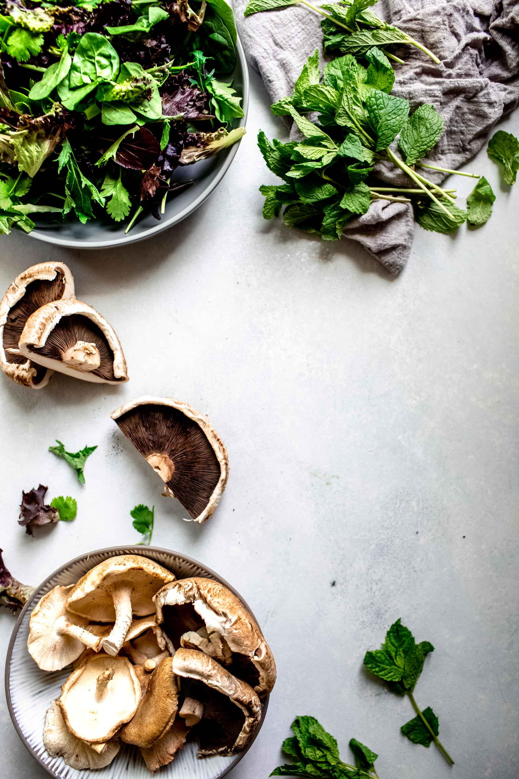 Ingredients for thai mushroom salad.
