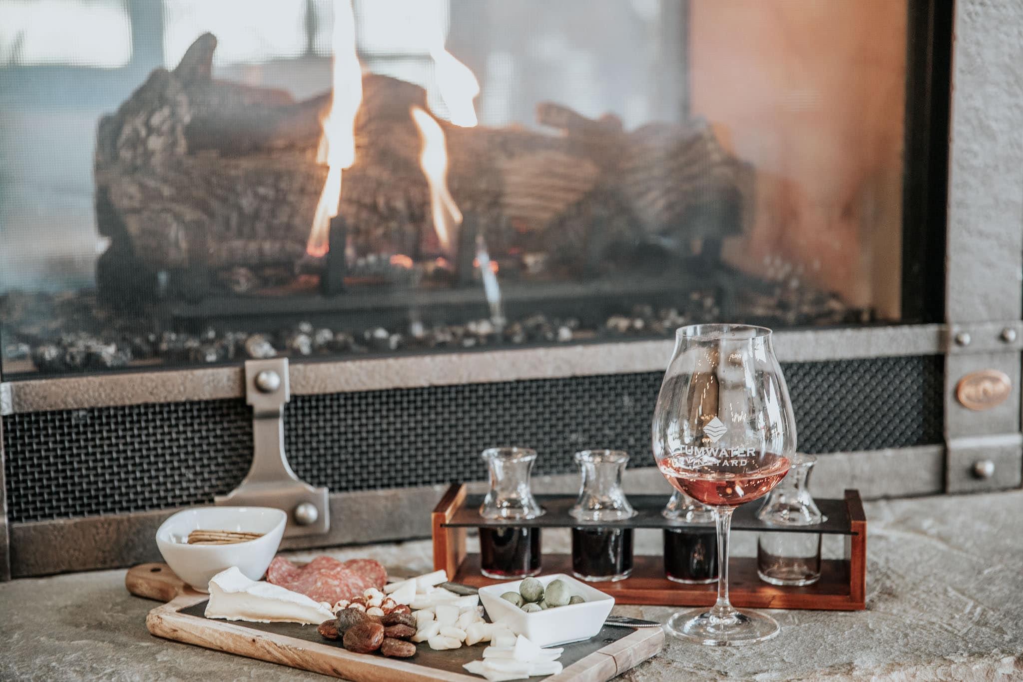 Fireplace at Tumwater Vineyard.