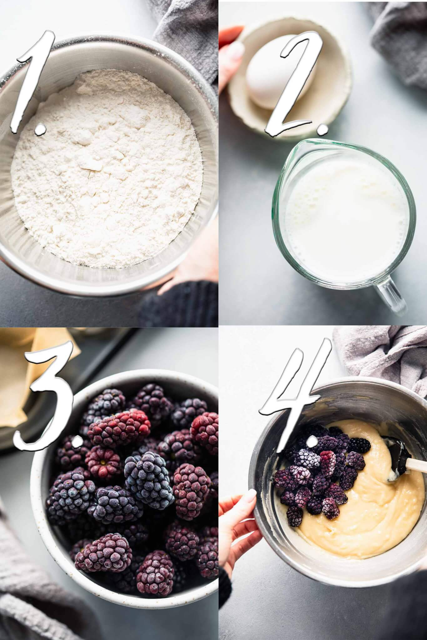 STEPS FOR MAKING BLACKBERRY MUFFINS.