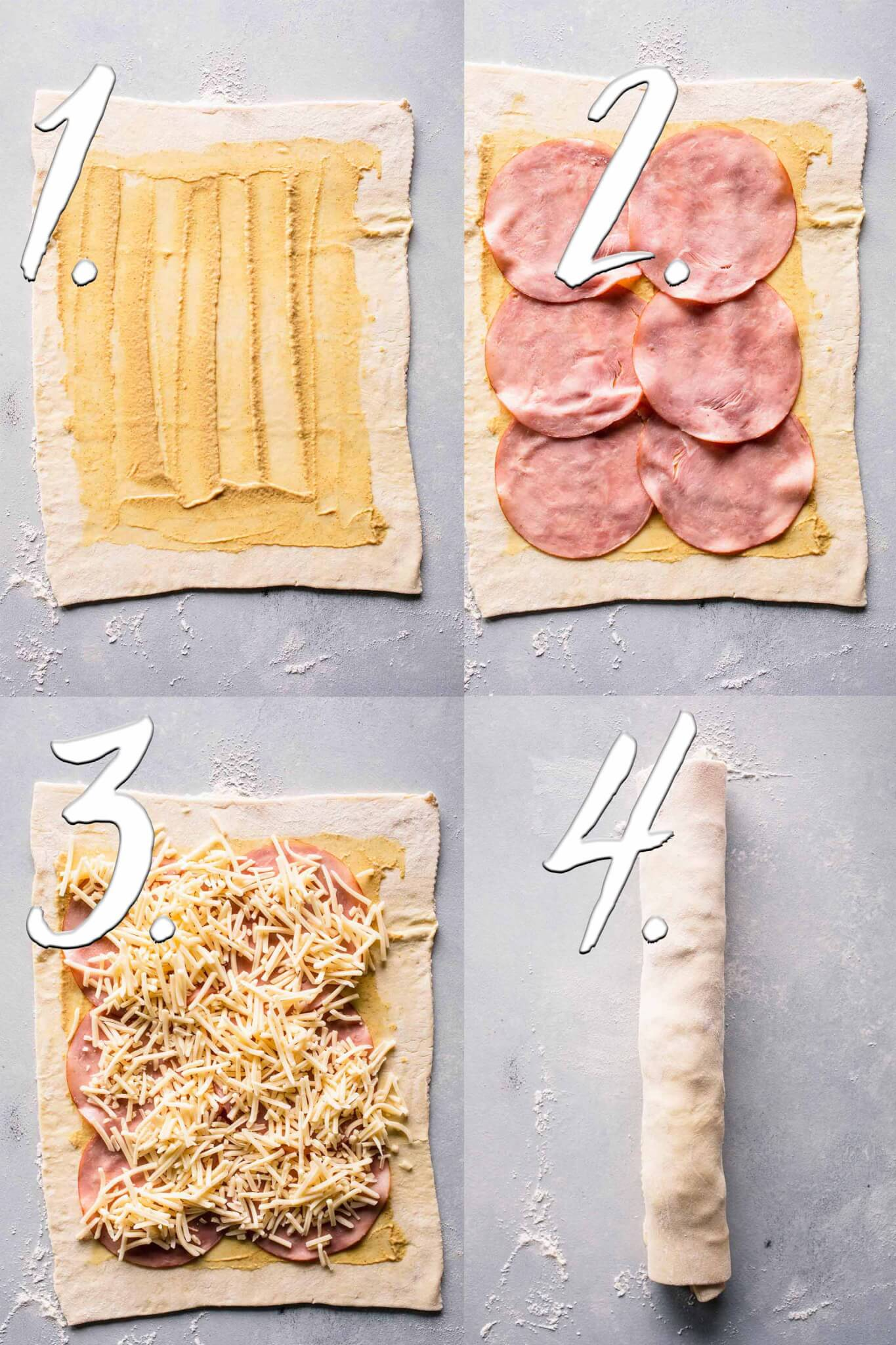 Steps diagram for making ham & cheese pinwheels.